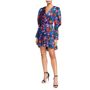 NWT WAYF Eva Blue floral puff sleeve mini dress